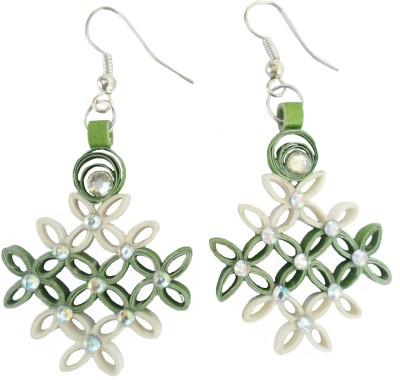 Designer's Collection Quilled Green & White Designer Paper Chandelier Earring