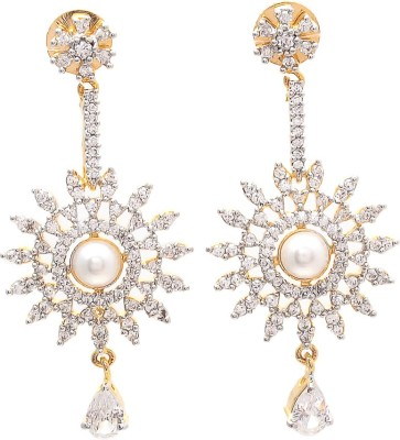 JewelAway Sun Diamond Brass Drop Earring