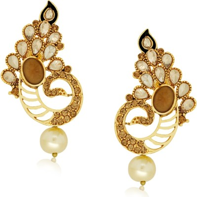 Spargz Fashionable Peacock with LCT Color Stone Alloy Stud Earring