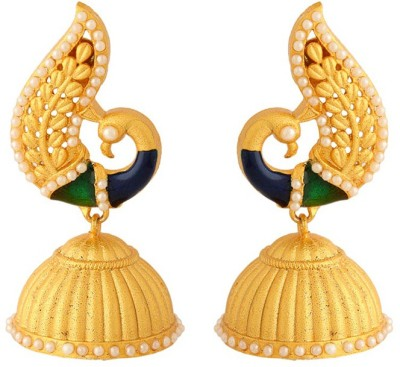 Voylla Artificial Classic Enamel Crystal Brass Jhumki Earring at flipkart