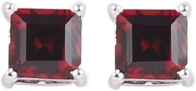 Krishna Pearls & Jewellers Garnet Silver Stud Earring