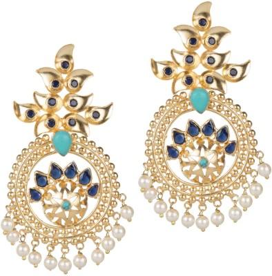 Mehtaphor Kajri_3 Crystal Brass Chandbali Earring