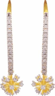TUAN Hang-down Dangle Cubic Zirconia Brass Drop Earring