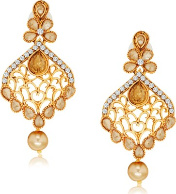 Spargz Designer Hanging with Pearl Drop Alloy Chandelier Earring