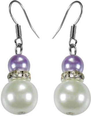 Crystals & Beads Amethyst Purple Colour Round Moonball & White Pearl Bead with Diamond Spacer Acrylic, Glass, Crystal Dangle Earring