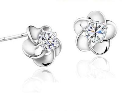 iSweven Fashion Jewelry 925 Sterling Silver Plum Flower Zircon Latest Luxury Crystal ED2659 Zircon Alloy Stud Earring