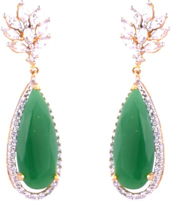 Ztyling White Stone Studded With Green Rhinestone Embellishment Alloy Drop Earring