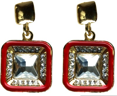 Modish Look Red Square Traditional Brass Drop Earring