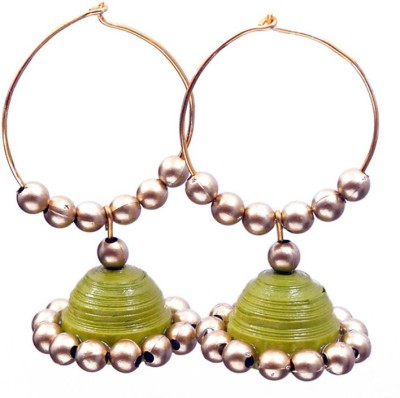 Rivory Bros Quilled Traditional Green Jhumkis Paper Hoop Earring