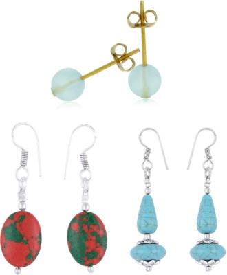 Pearlz Ocean Hula Hoops Howlite & Fluorite Gemstone Beads Studs Alloy Earring Set
