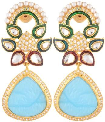 SB Fashions blue pearl earring Brass Jhumki Earring