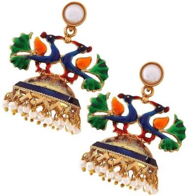 the jewelbox Peacock Crown Copper Jhumki Earring