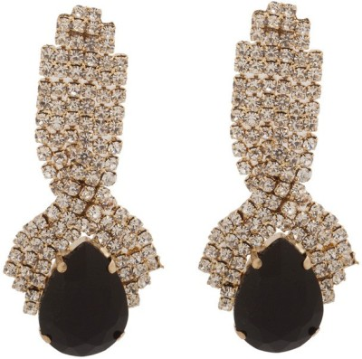RIANZ New Elegant Gold Plated Black Color Stone and Crystals Alloy Dangle Earring