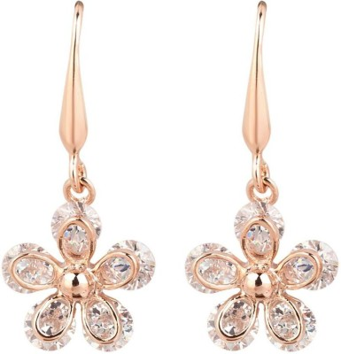 iSweven Flowers Cubic Zirconia Dangle For Girls 18k Gold Plated Fashion Jewelry Top Quality Anniversary Gift Alloy Drop Earring