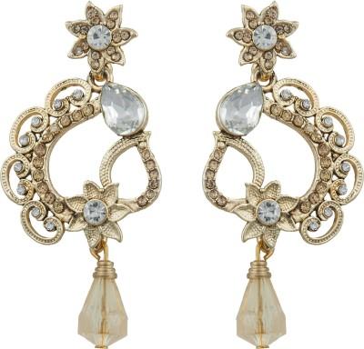 Pankh Antique Design Studded Brass Drop Earring