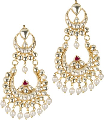 Mehtaphor Mudra Crystal Brass Chandbali Earring