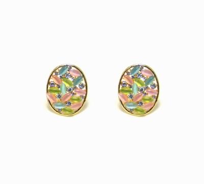 Pink Amber Mordern Stylish Metal Stud Earring