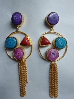 JEWELS ART N/A Titanium Drusy Brass Drop Earring