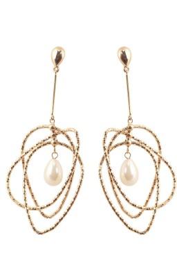 Shamoda Glamorous Oblong Metal Tassel Earring