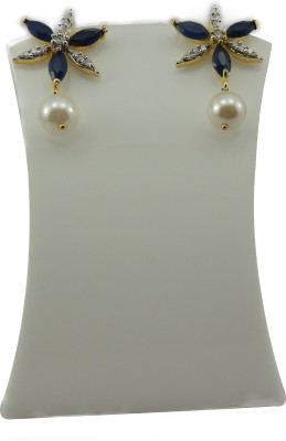 Bharat Sales Party wear For Women In Floral Collection In Navy blue Color Cubic Zirconia Copper Drop Earring