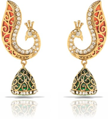 Oviya Red and Green Peacock Crystal Brass, Alloy Dangle Earring