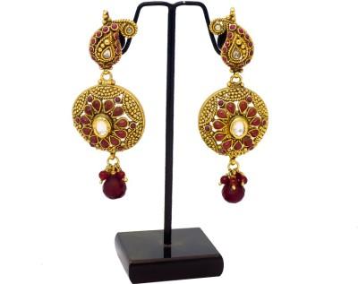 Supreme Art Jewellers Ethnic Design Maroon Color Copper Drop Earring