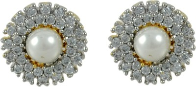 My Sara earings for girls stylish in white color Brass Stud Earring