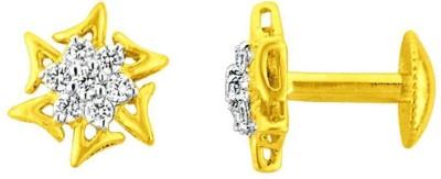 JPearls splendid Cubic Zirconia Gold Stud Earring