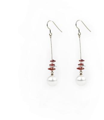 Jewelfin White Pearl Fall Alloy Dangle Earring