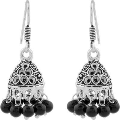Silvery Metal Earring Jhoomki Black Brass, Copper Jhumki Earring