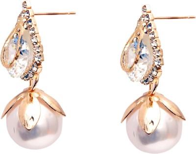 Fashionera white pearl Metal Drop Earring