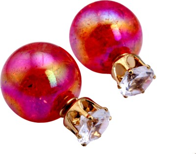Bigpout Red Pearl Alloy, Plastic Stud Earring