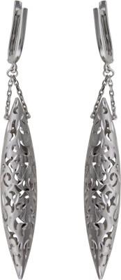 Treta Floral Designer Long Hanging Sterling Silver Clip-on Earring