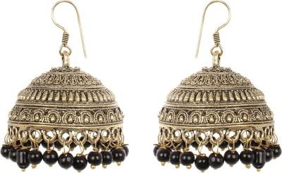 Saadgi Black Beads Bollywood styled Wedding Collection German Silver Jhumki Earring