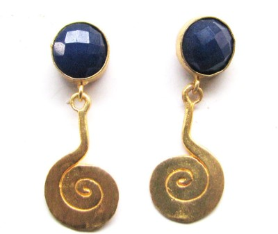 Bhrti semi precious Gold plated Lapis Lazuli Brass Dangle Earring