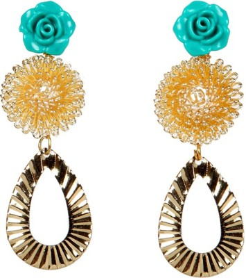 Envy Green Flower And Gold Mesh Brass Drop Earring