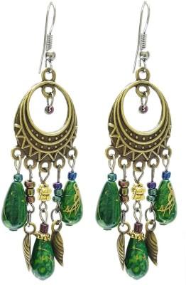 Mehrunnisa Bronze Green Beaded Metal Dangle Earring