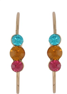 Diovanni Tripple Stone Gold Multicolour Crystal, Alloy Hoop Earring