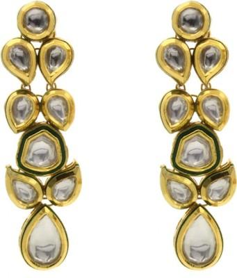 Eighth Fold Long White Kundan Earring Cubic Zirconia Brass Dangle Earring