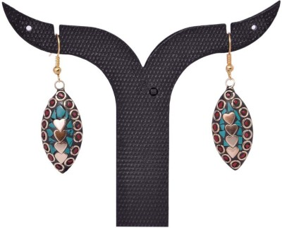 Tradition India TI275 Handmade Designer Stone Studded Traditional Lac Worked Brass Drop Earring