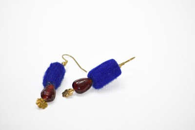 Ba No Batwo Blue Coin Rangakriti Cotton Dori, Plastic Dangle Earring