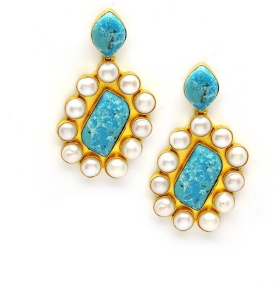 Seven Jewels Blue ocean Turquoise Brass Drop Earring