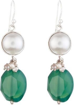 Aarohee Green Sparkle Onyx Sterling Silver Dangle Earring