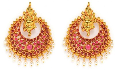 Alankruthi Royal Tradional Antique Golden Stone Studded Handmade Spinel Copper Dangle Earring