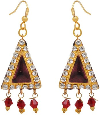 Jaipur Mart Triangle Maroon Lac With Shiny Alloy Drop Earring