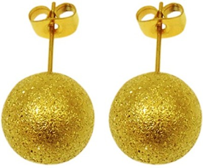Sanaa Creations Gold plated sparkle ROUND shape Men,s Stud Alloy Stud Earring