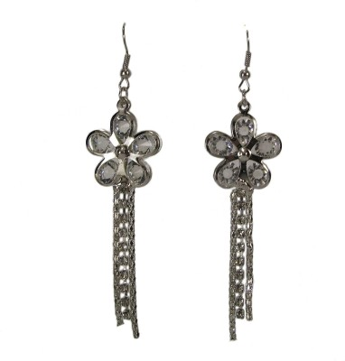 Bandish Silver toned Stone studded Floral Multistranded Metal Dangle Earring