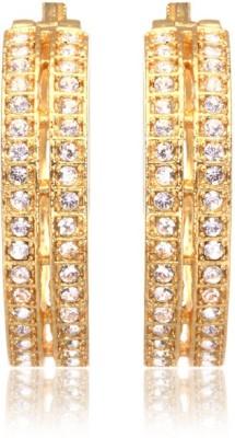 Eclat 1213378G Swarovski Crystal Alloy, Brass Hoop Earring