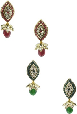Taruni Combo Of 2. (Red,Green) Alloy Earring Set