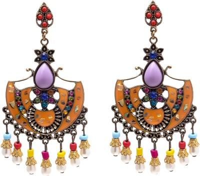My Sara Dangler For Girls In Multicolor Cubic Zirconia Brass, Copper Drop Earring